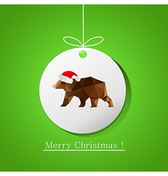 modern flat card with origami bear on Christmas vector image