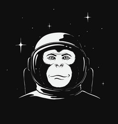 Monkey astronaut in space vector