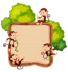 Monkey on wooden board vector