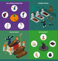 Monster halloween icon set vector