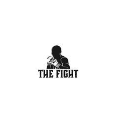 Muay thai boxing badge logo design inspiration vector