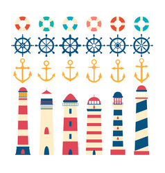 nautical set steering wheel lighthouse anchor vector image
