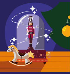 Nutcracker soldier in crystal sphere with wooden vector