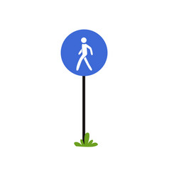 Pedestrian walkway sign on metallic pole large vector