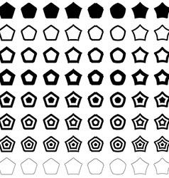Pentagon polygon set vector image