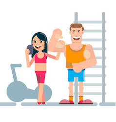 Photos of athletes in fitness room vector