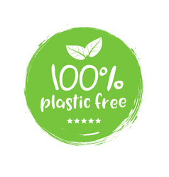 Plastic free green icon badge bpa plastic free vector