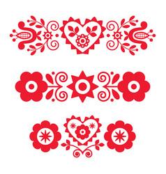 Polish red floral folk art long design set vector