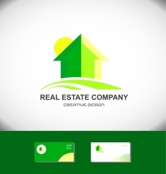 Real estate green house home logo icon vector