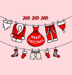 Santa claus clothesline pink christmas card vector