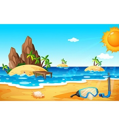 Scene with islands and beach vector