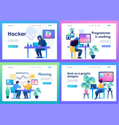 set landing pages with a workplace for creative vector image
