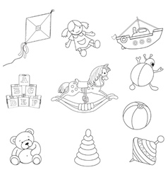 set o outlined toys vector image
