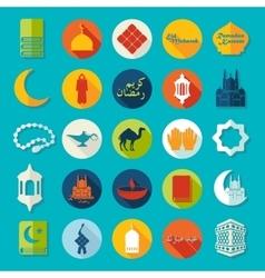 Set of flat icons Ramadan Kareem vector image