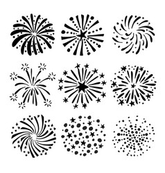 set of hand drawn fireworks and sunbursts vector image vector image