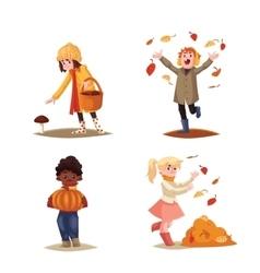 Set of kids enjoying outdoor fall autumn vector image
