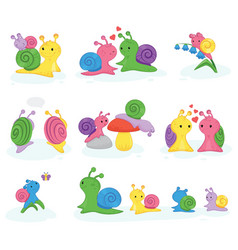 Snail snail-shaped character with shell and vector