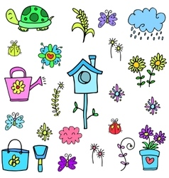 Spring set colorful doodles vector