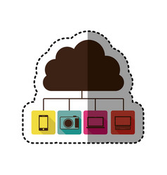 Sticker cloud storage in cumulus shape connected vector
