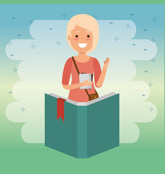 teacher woman with book vector image