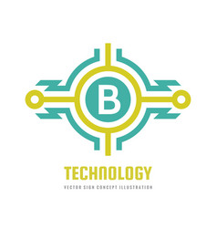 technology letter b - logo template concept vector image