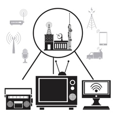 tv radio internet transmission signal vector image vector image