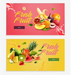 Two realistic fruits horizontal banner set vector