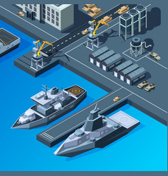 Warships on pier american navy isometric vector