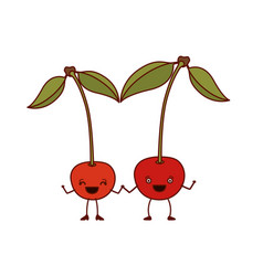 White background with pair of cherry fruits vector