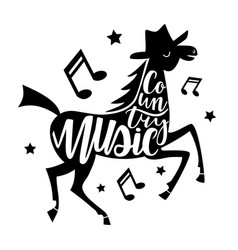 with dancing horse and lettering words - country vector image