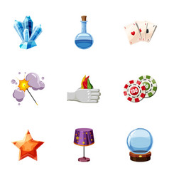 wizard stuff icons set cartoon style vector image