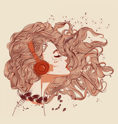 woman with headphones and tattoo vector image