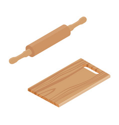 wooden cutting board and rolling pin vector image