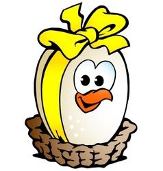 egg ribbon basket vector image vector image