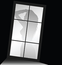 girl beauty silhouette front of window vector image