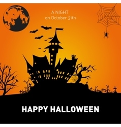 Happy halloween poster on orange background vector