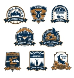 Hunting club icons Outdoor adventure emblems vector image