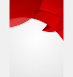 Abstract red corporate wavy flyer design vector image