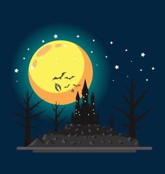 Flat design halloween castle vector image vector image