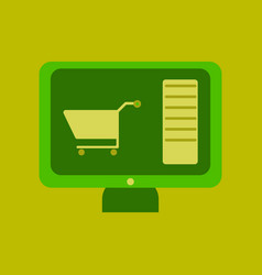 flat icon of computer sale online buying vector image
