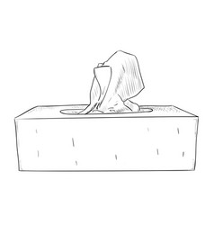 Hand drawn sketch of box with wipes vector