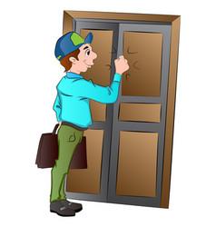 Salesman knocking on a door vector