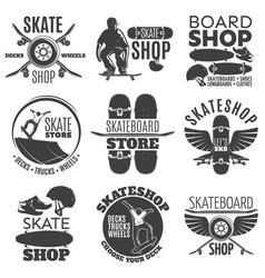vintage skateboarding shop emblems set vector image