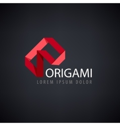 abstract red logo origami vector image vector image