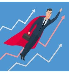 Businessman in a suit superhero flies up above vector image vector image