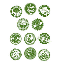 eco green natural bio organic product symbol set vector image vector image