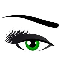green eye with long eyelashes vector image