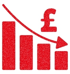 Pound Recession Bar Chart Grainy Texture Icon vector image vector image