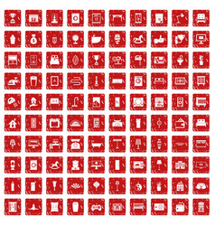 100 interior icons set grunge red vector image vector image