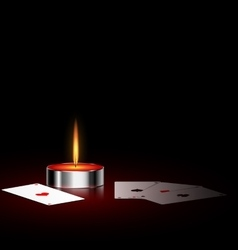 burning small candle and cards vector image